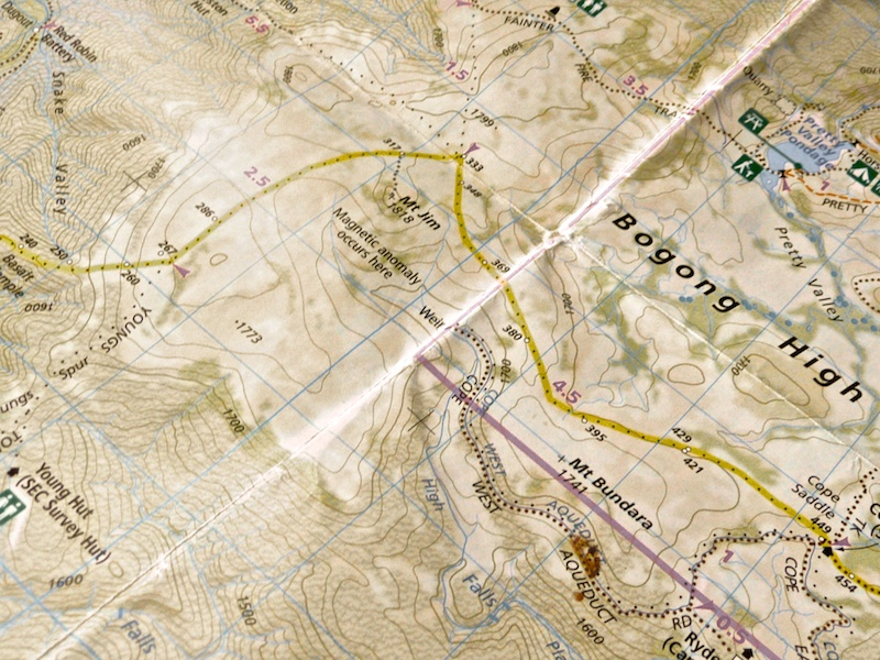 The area of Bogong Alpine Park, showing the locality of Mt Jim and the magnetic anomaly