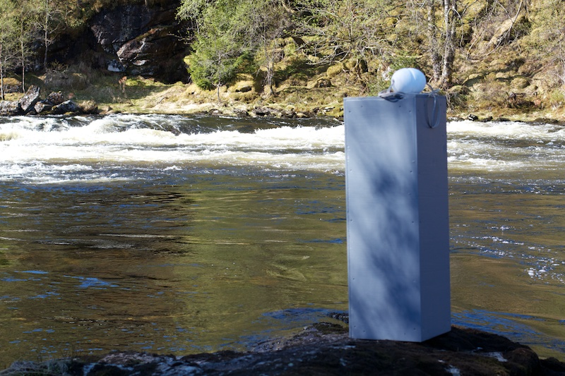 The Sokkel waiting to be launched into the meltwaters of Harefossen